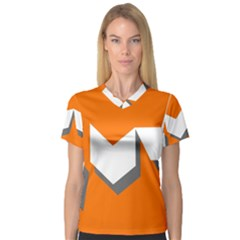 Cute Orange Chevron Women s V-Neck Sport Mesh Tee