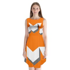 Cute Orange Chevron Sleeveless Chiffon Dress