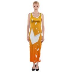 Cute Orange Copy Fitted Maxi Dress