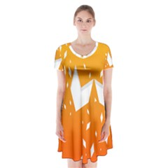 Cute Orange Copy Short Sleeve V-neck Flare Dress