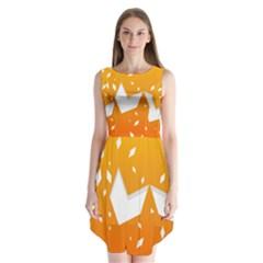 Cute Orange Copy Sleeveless Chiffon Dress