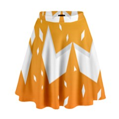 Cute Orange Copy High Waist Skirt