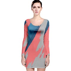 Colorful Long Sleeve Velvet Bodycon Dress