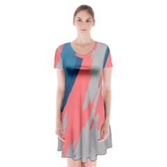 Colorful Short Sleeve V-neck Flare Dress