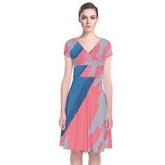 Colorful Short Sleeve Front Wrap Dress