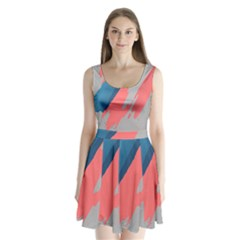 Colorful Split Back Mini Dress