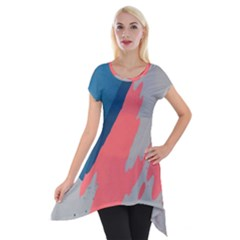 Colorful Short Sleeve Side Drop Tunic