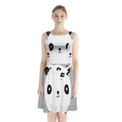 Cute Panda Animals Sleeveless Chiffon Waist Tie Dress