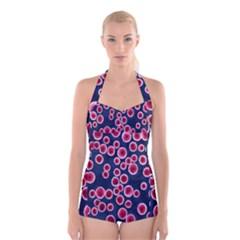 Cute Red Ball Boyleg Halter Swimsuit