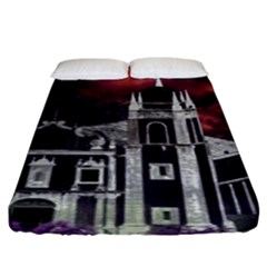 Fantasy Tropical Cityscape Aerial View Fitted Sheet (King Size)