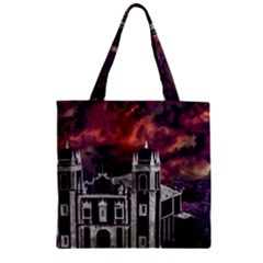 Fantasy Tropical Cityscape Aerial View Zipper Grocery Tote Bag