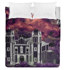 Fantasy Tropical Cityscape Aerial View Duvet Cover Double Side (Queen Size)
