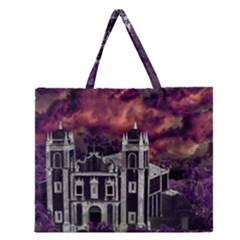 Fantasy Tropical Cityscape Aerial View Zipper Large Tote Bag