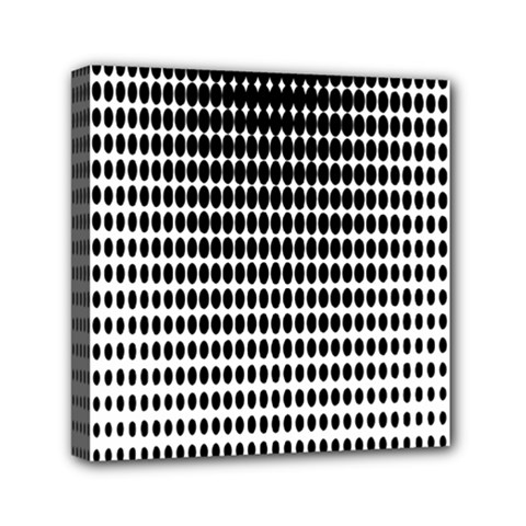 Dark Circles Halftone Black White Copy Mini Canvas 6  x 6