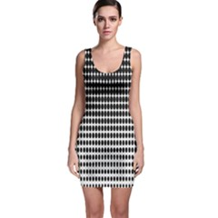 Dark Circles Halftone Black White Copy Sleeveless Bodycon Dress