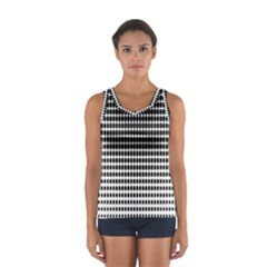 Dark Circles Halftone Black White Copy Women s Sport Tank Top