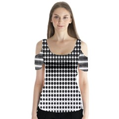 Dark Circles Halftone Black White Copy Butterfly Sleeve Cutout Tee