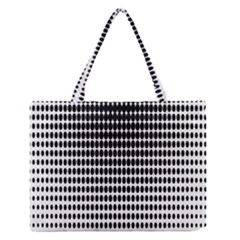 Dark Circles Halftone Black White Copy Medium Zipper Tote Bag