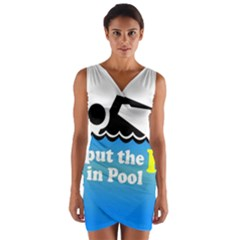 Funny Swiming Water Wrap Front Bodycon Dress