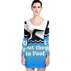 Funny Swiming Water Long Sleeve Velvet Bodycon Dress