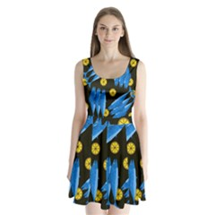 Mackerel meal Split Back Mini Dress