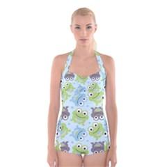 Frog Green Boyleg Halter Swimsuit