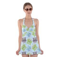 Frog Green Halter Swimsuit Dress