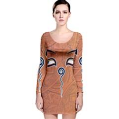 Face Eye Long Sleeve Velvet Bodycon Dress