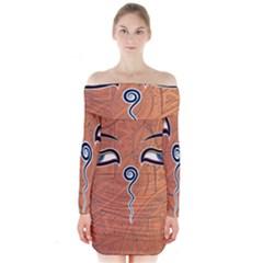 Face Eye Long Sleeve Off Shoulder Dress