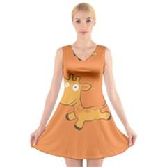 Giraffe Copy V-Neck Sleeveless Skater Dress