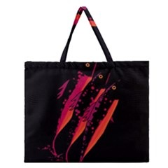 Red Fish Zipper Large Tote Bag