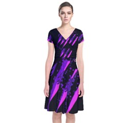 Purple fish Short Sleeve Front Wrap Dress