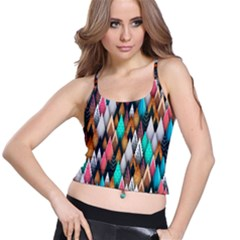 Background Pattern Abstract Triangle Spaghetti Strap Bra Top