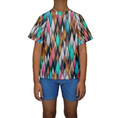 Background Pattern Abstract Triangle Kids  Short Sleeve Swimwear