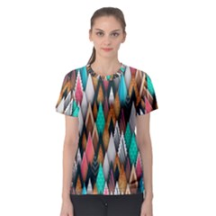 Background Pattern Abstract Triangle Women s Sport Mesh Tee