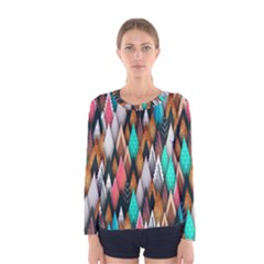 Background Pattern Abstract Triangle Women s Long Sleeve Tee