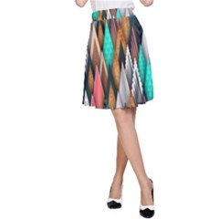 Background Pattern Abstract Triangle A-Line Skirt