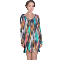 Background Pattern Abstract Triangle Long Sleeve Nightdress