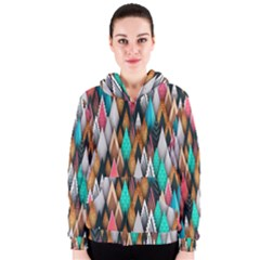 Background Pattern Abstract Triangle Women s Zipper Hoodie
