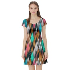 Background Pattern Abstract Triangle Short Sleeve Skater Dress