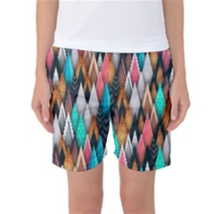 Background Pattern Abstract Triangle Women s Basketball Shorts