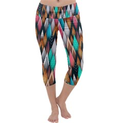 Background Pattern Abstract Triangle Capri Yoga Leggings