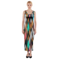 Background Pattern Abstract Triangle Fitted Maxi Dress