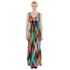 Background Pattern Abstract Triangle Maxi Thigh Split Dress