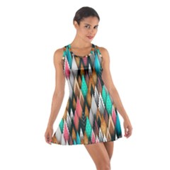 Background Pattern Abstract Triangle Cotton Racerback Dress