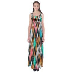 Background Pattern Abstract Triangle Empire Waist Maxi Dress