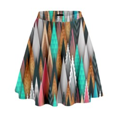 Background Pattern Abstract Triangle High Waist Skirt