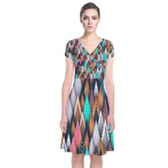 Background Pattern Abstract Triangle Short Sleeve Front Wrap Dress