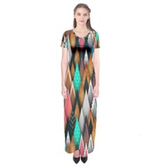 Background Pattern Abstract Triangle Short Sleeve Maxi Dress