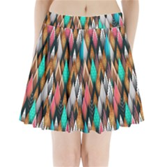Background Pattern Abstract Triangle Pleated Mini Skirt